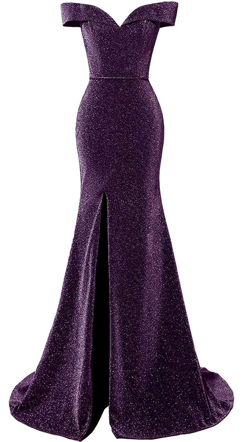 Grape AnnaBride Women's Long Off Shoulder Formal Evening Dress Glitter Prom Party Gowns 23PM