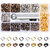 Metal Grommet Kit 3/16 inch 400Pcs Grommets Eyelets Sets with 3 Pieces Install Tool Kit and Box for Shoes Clothes Crafts Bag