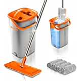 Worthland Flat Floor Mop and Bucket Set with Hands Free Squeeze Mop for Home Floor Cleaning, Telescopic Stainless Steel Handl