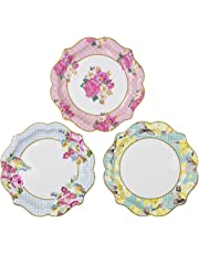 Talking Tables Tea Party | Vintage Floral Paper Plates | Truly Scrumptious Party Plates | Great For Birthday Party, Baby Shower, Wedding And Anniversary | 12 Count