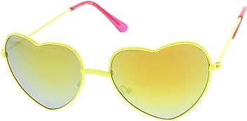 5d6e12d33f Womens Color Coated Full Metal Frame Color Mirror Heart Shape Sunglasses