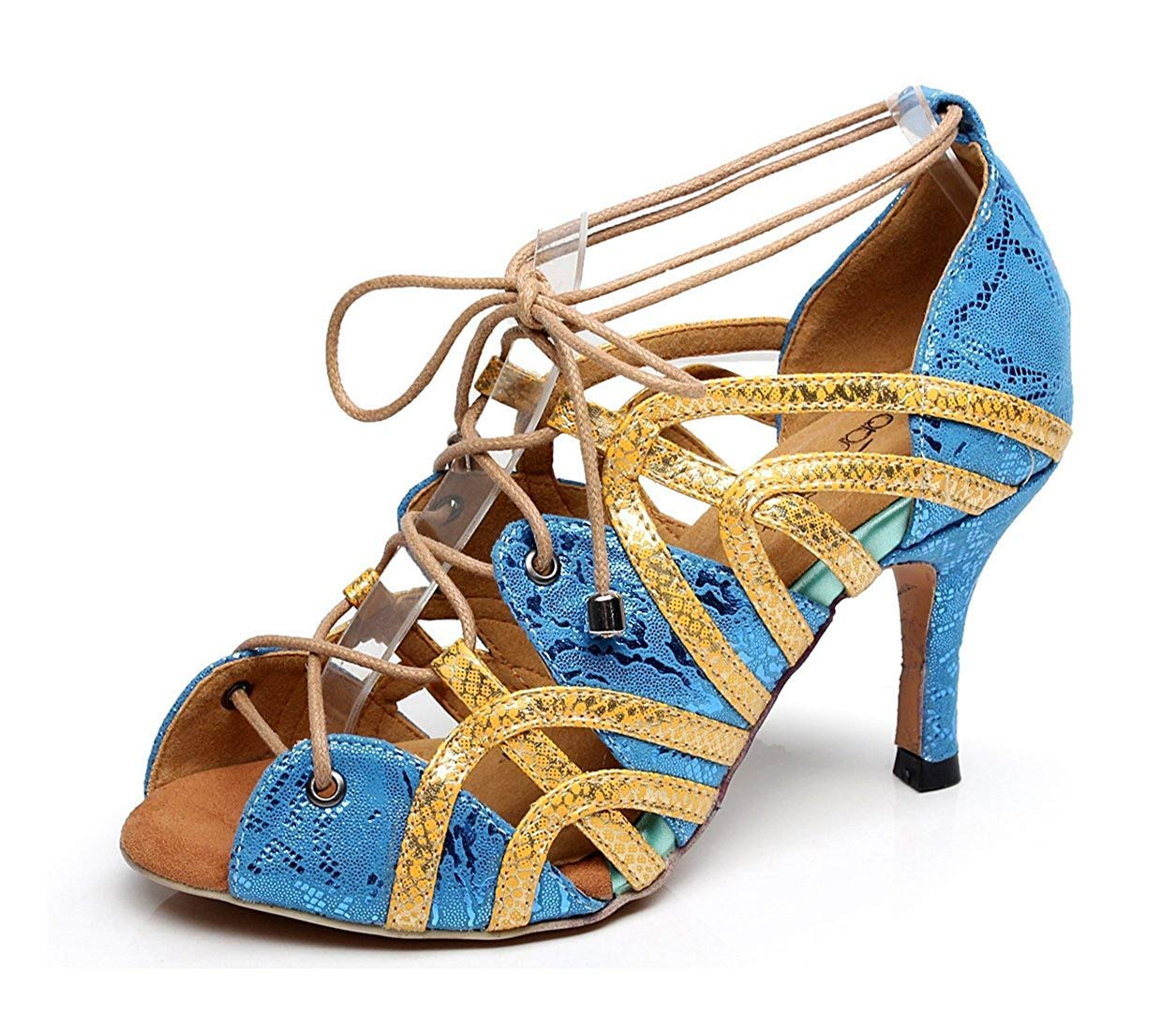 Qiusa Damen Soft Rubber Sole Peep Toe Blau Synthetische Salsa Latin Tanzschuhe Party Sandalen UK 5 (Farbe   - Größe   -)