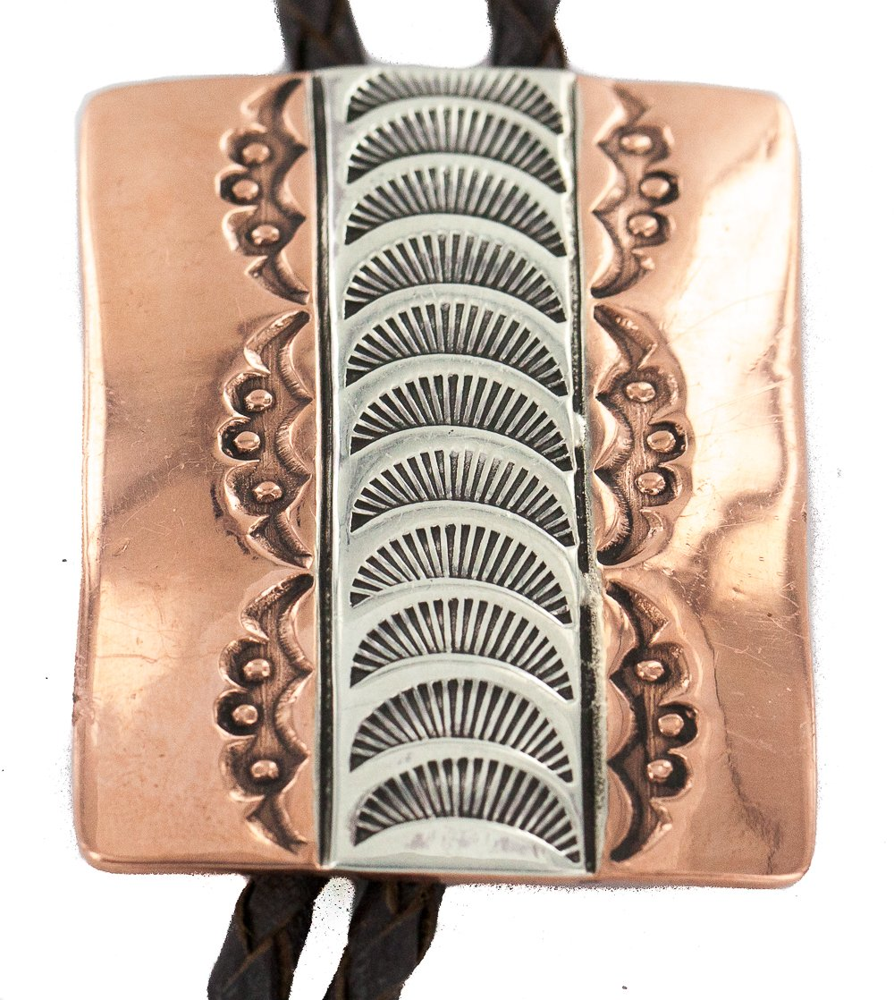 Handmade Certified Authentic Leather Navajo Pure Copper and Nickel Native American Bolo Tie 244898
