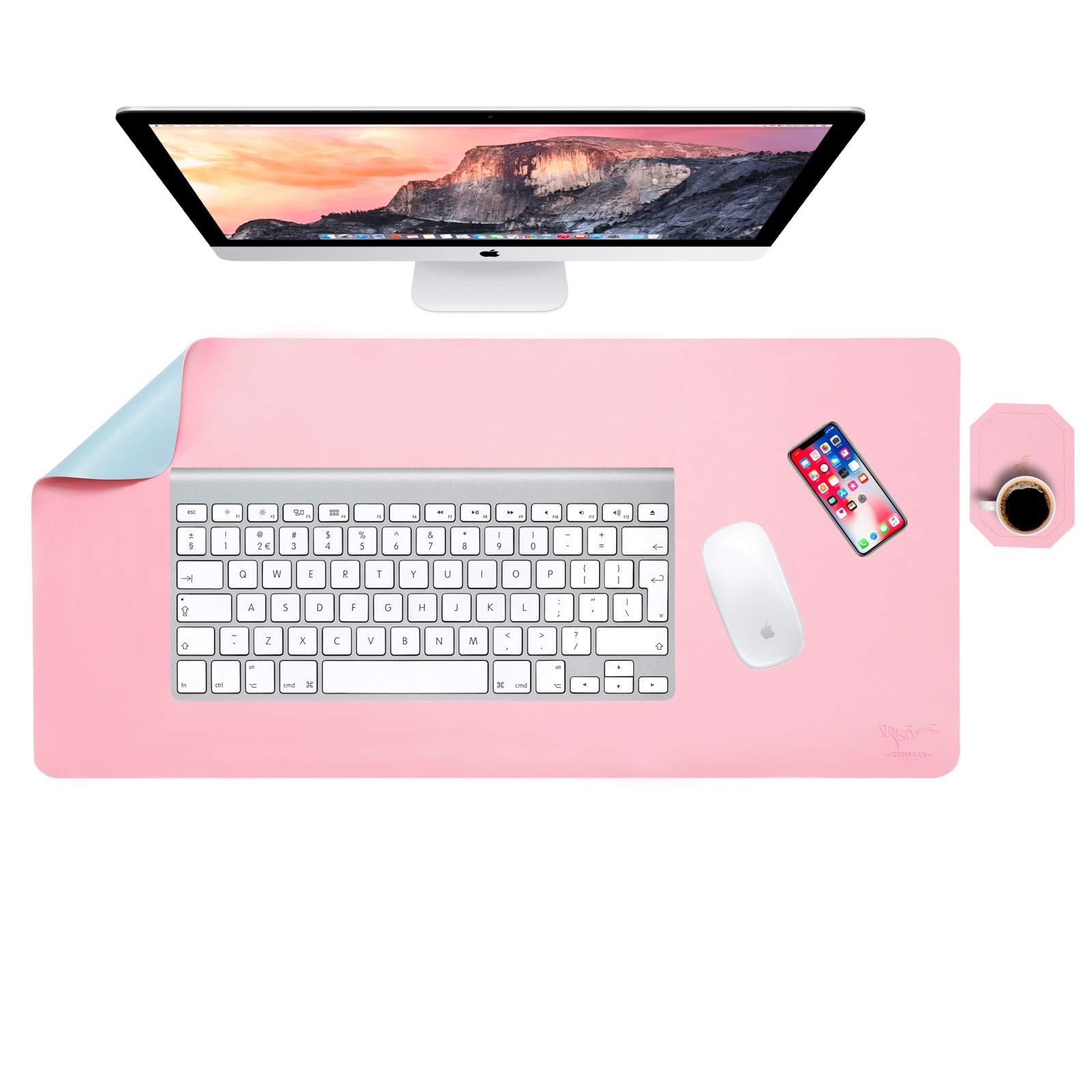 KUNSOAR Desk Pad Large Mouse Pad Dual Sided Desk Mat for Home