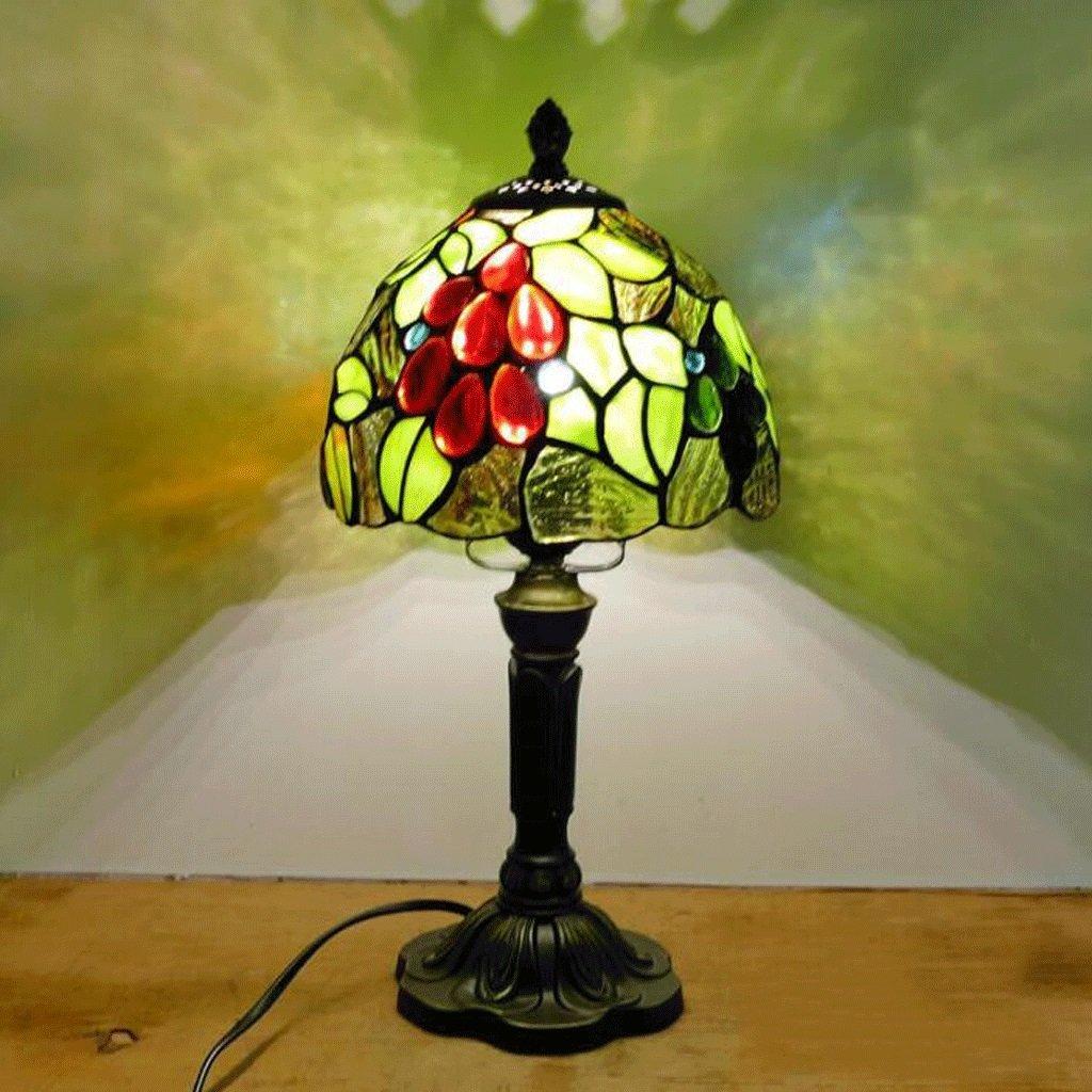 Table lamp WTL Lighting Lámpara de Mesa Bar Estilo mediterráneo Europeo Restaurante Bar Mesa Cafetería Lámpara de Escritorio pequeña Vidrieras Lámparas de cabecera Lámpara de Escritorio (Color : B) f2f52f