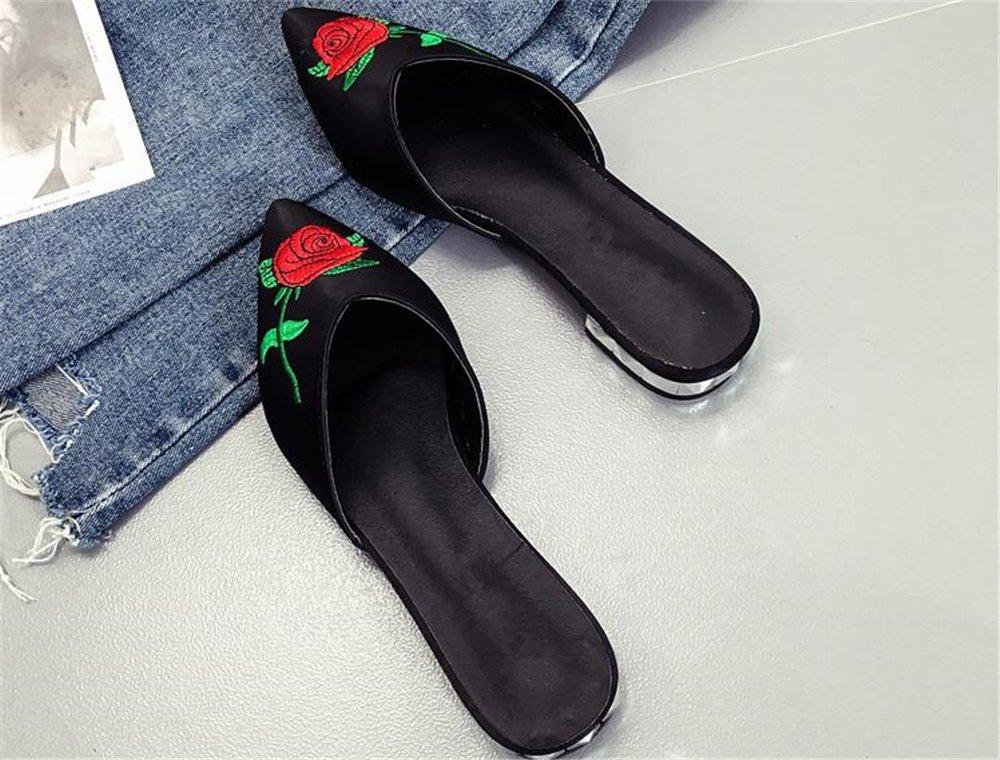 Dolwins Womens Satin Rhinestones Jeweled Flat Sandals Pointed Toe Jeweled Rhinestones Embellishment Slides Sandals B07DNPJ1QQ 41/10.5 B(M) US Women|Black-1 098cdc