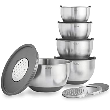 VonShef Nested Mixing Bowl Set With Lids, Non Slip Surface, Measurement Marks and 3 Assorted Grater Attachments, Stainless Steel Mirror Finish Bowls, 5 Piece - Gray