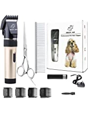 Dog Clippers Cat Shaver, Professional Hair Grooming Electric Clipper Detachable Blades Cordless Rechargeable, Pet Clipper for Thick Coats Long haired Dog Cat, Quiet Animal Clippers and Trimmer (Gold)