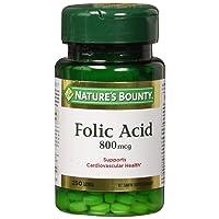 Nature's Bounty Folic Acid 800 mcg Tablets Maximum Strength 250 ea (Pack of 2)