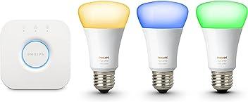 Philips Hue Kit de Démarrage White And Color Ambiance avec 3XE27 10W [Pont Inclus], Un Kit de Lampes Connectées - Ampoules à Variation de Couleurs - Fonctionne avec Alexa