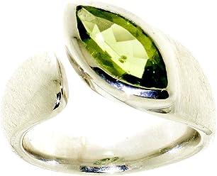 "Luxuriöser Ring Silber aus 925er Sterlingsilber mit Peridot 12x6mm im Navetteschliff, rhodiniert von Peter Erker, Serie""Ocean"""