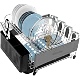 WACETOG Dish Drying Rack - Stainless Steel Dish Rack and Drainboard Set , Space-Saving Dish Drainer with Removable Utensil Ho