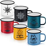 16 Oz Enamel Mug Coffee Cup Set of 6, P&P CHEF Camping Enamel Mug with Patterns & Handle for Tea Soup Milk, Corlorful Gift fo