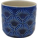 "Amazon Brand – Stone & Beam Small Fan-Embossed Planter, 4.3""H, Blue"