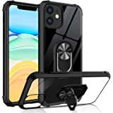 Tuerdan iPhone 11 Case with Ring Holder, Military Grade Clear Crystal Phone Case with Car Mount Kickstand for Apple iPhone 11