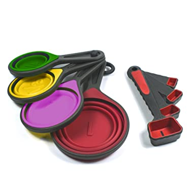 Collapsible Silicone Measuring Cups & Measuring Spoons Set by by Lake Country Products, 8 Piece Set