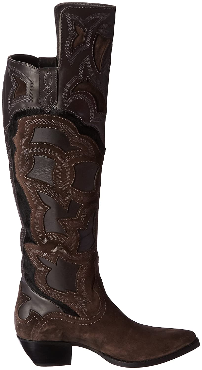 FRYE Women's Shane Embroidered Cuff Western Boot B01BNVSQDM 5.5 B(M) US|Charcoal