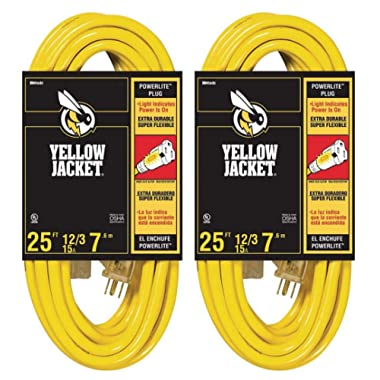 2-Pack - Yellow Jacket 12/3 Heavy-Duty 15-Amp SJTW Contractor Extension Cord with Lighted Ends, 25-Feet