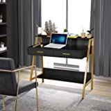 """Modern Writing Desk with Hutch - 39"""" x 19"""" Workstation Computer Work Study Table for Home Office Furniture Vanity Make Up Des"""