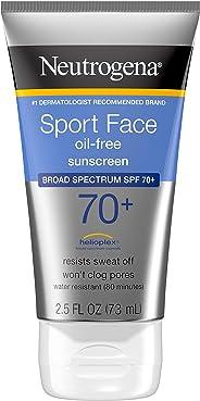 Neutrogena Sport Face Oil-Free Lotion Sunscreen with Broad Spectrum SPF 70+, Sweatproof & Waterproof Active Sunscreen, 2.5 f