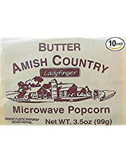 "Amish Country Microwave Popcorn Gourmet""Hulless"" Ladyfinger Butter (10 bags)"