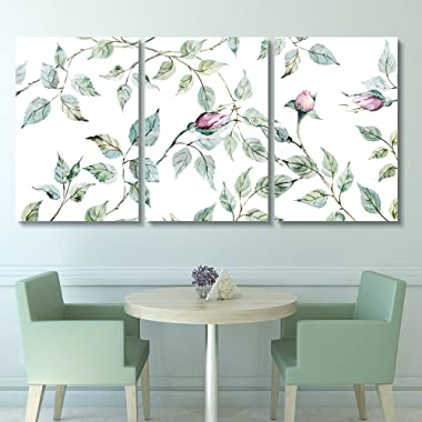 wall26-3 Panel Canvas Wall Art - Watercolor Style Roses and Leaves - Giclee Print Gallery Wrap Modern Home Decor Ready to Hang - 16 x24  x 3 Panels