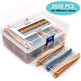 MelkTemn 2600Pcs 130 Values 1 Ohm-3M Ohm 1/4w Resistors Assortment kit RoHS Compliant with Box for DIY Projects