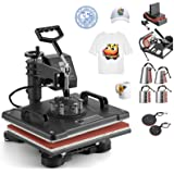 Hihone 8 in 1 Heat Press Machine, 15 x 12 inches Digital Sublimation 360 Degree Swivel Professional Heat Transfer for T-Shirt