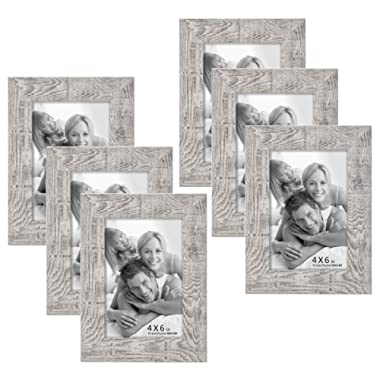 6 Pack 4x6 Picture Frames Wood Pattern High Definition Glass Tabletop or Wall Rustic Photo Frame,Wave Woodgrain Photo Frames (4x6(6pack), Wave woodgrain)