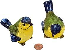 Muwse 2 x Deko-Meisen je ca. 7x5x5 cm aus Poly unterschiedlich sitzend UV- Witterungs-unempfindlich, naturgetreu handbemalter Kunst-Stein