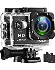 Action Camera FMAIS Full HD 1080P Waterproof Cam 2 Inch LCD Underwater 30m/98ft Diving 140° Wide-angle Sports Camera with 2 Rechargeable Batteries and Mounting Accessories Kits(Black)