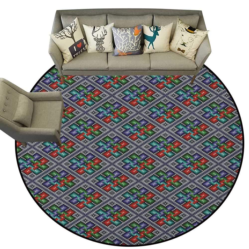 Style11 Diameter 72(inch& xFF09; Ethnic,Personalized Floor mats Striped Boho Pattern Tribal Motifs Zigzag Lines Brushstrokes and Splatters of Paint D54 Floor Mat Entrance Doormat