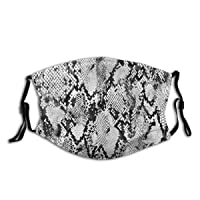 Kids Adult Anti-Dust Face Mouth Mask Snakeskin Snakeprint Pattern Black White Adjustable Sport Outdoor Mouth Cover Balaclava