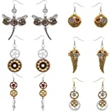 6 Pieces Steampunk Earrings Vintage Clockwork Earrings Clock Gear Earrings Antique Mix-tone Drop Earrings, 6 Styles