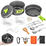 AIRE 16 Pcs Camping Cookware Set Stove Canister Stand Tripod Outdoor Hiking Picnic Non-Stick Cooking Backpacking with Folding