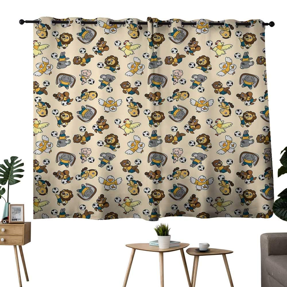 color01 42 x72 (W106cmxL182cm) NUOMANAN Bedroom Curtain Kids,Various Animals Riding on Train in The Park with Mountains Cartoon Style Illustration,Multicolor,Insulating Room Darkening Blackout Drapes for Bedroom 42 x45