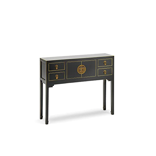The Nine Schools Oriental Qing Black And Gold Leaf Gilt Small Console Table