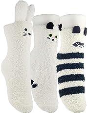 K MASANIJI Womens Winter Warm 3D Cute Animal Socks with Bottom Rubber Gripers Plush Fuzzy Sleeping Socks Free Size 3 Pack