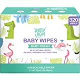 Baby Wipe - HAPPY BUM Wet Wipes for Baby, Baby Water Wipes, 4 Packs, 320 Count.
