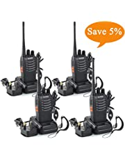 BF-888S Walkie Talkies long range Two Way Radio Handheld UHF 400-470MHz Transceiver Interphone With Rechargeable Li-ion Battery and LED Light Voice Prompt for Field Survival Biking and Hiking (4 Pcs)