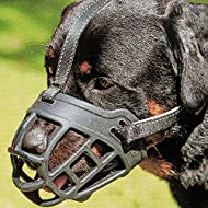 """Dog Muzzle,Soft Basket Silicone Muzzles for Dog, Best to Prevent Biting, Chewing and Barking, Allows Drinking and Panting, Used with Collar (3 (Snout 10-12""""), Black)"""
