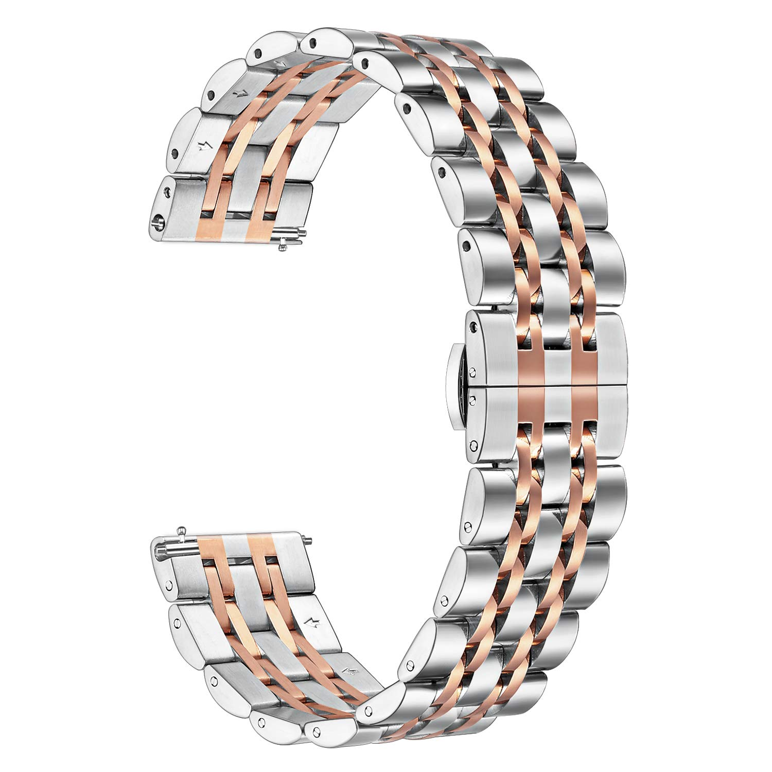 for Fossil Gen 4 Q Venture HR Women Bands, TRUMiRR 18mm Solid Quick Release Watch Band Stainless Steel Metal Butterfly Buckle Strap for Fossil Gen 3 Q Venture LG Watch Style