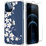 Mokiy Clear Case with Floral Design Compatible with iPhone 12 pro Case,Design for iPhone 12 Case,Soft TPU Ultra-Thin Shockpro