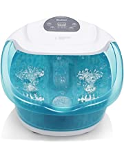 MaxKare Foot Spa Bath Bucket Massager with Heat Bubble Vibration 3 in 1 Function, 4 Masssaging Rollers Pedicure Soak Stress Relief Help Sleep Home Use