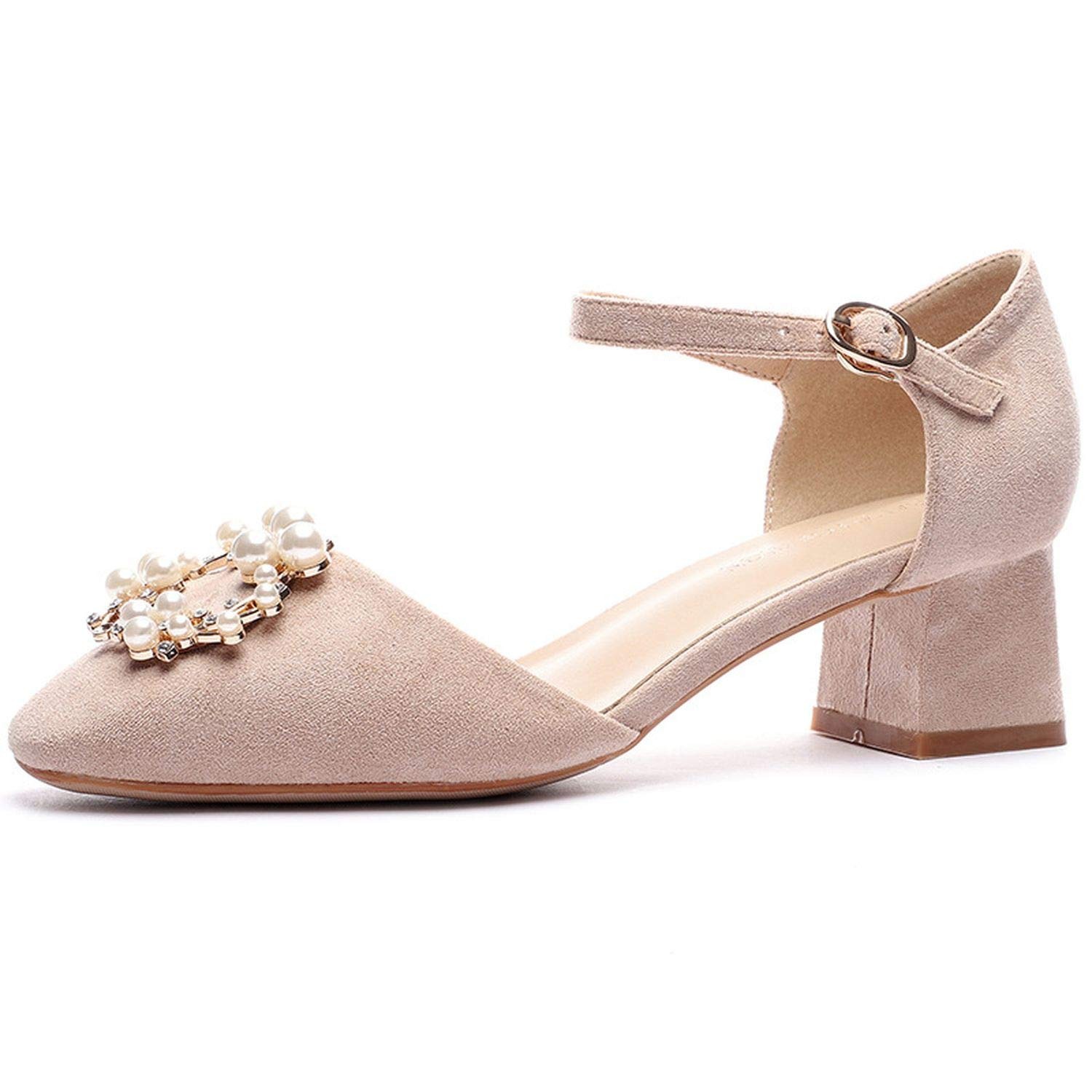 Beige Youthern New Party High Heels shoes Med High Heels Autumn Solid Pearls Buckle Square Heels Pumps Women Flock Sandals