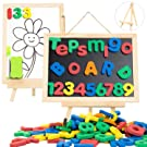 Magnetic Letters and Numbers for Toddlers with Double-Side Magnet Board - ABC Uppercase Lowercase EVA Alphabet Letters for Kids - Classroom Home Education Spelling Learning Set including Storage Bag