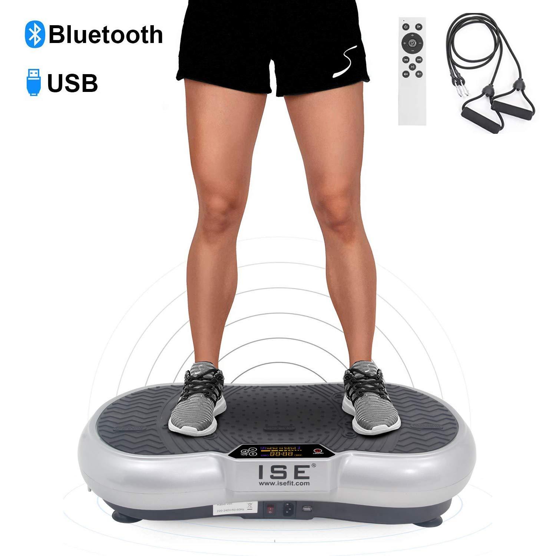 ISE Drehbare Plattform für Fitness Trainingsgerät mit Vibrationen 99 Geschwindigkeitsstufen, 5 Programme und Blautooth-Lautsprecher