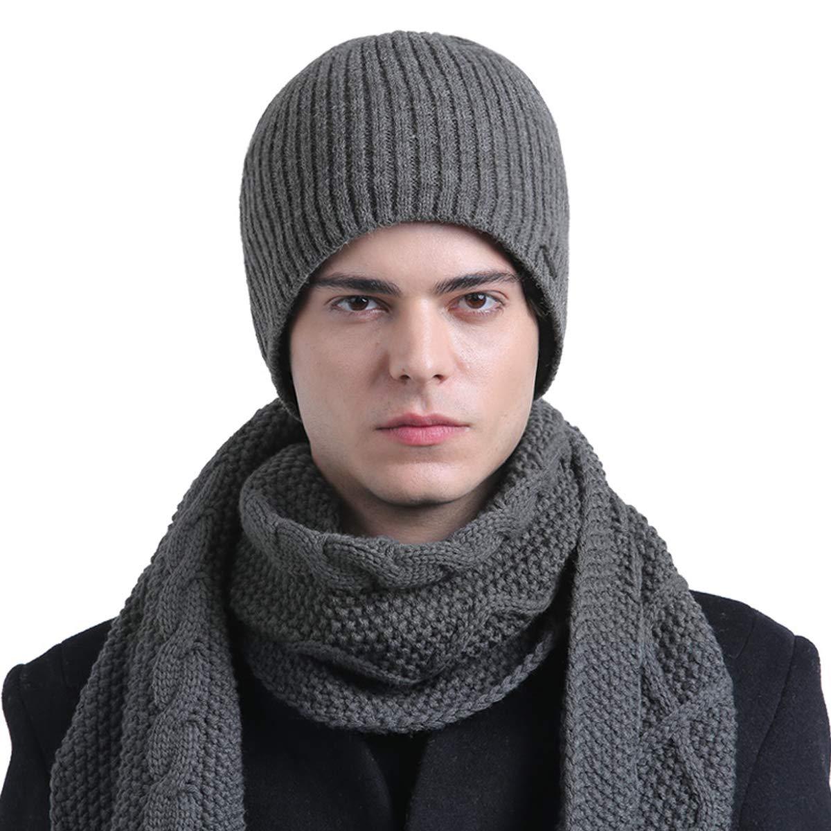 2e336f9ee485 CACUSS Mens Winter Wool Beanie Hat Warm Knit Hat Daily Cuff Beanie Thick  Ski Caps Comfy Skull Cap (Gray)