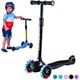 Kick Scooter for Kids Boys Girls, 3 Wheel Scooter for Toddler for 2-5 Years Old, Adjustable Height, Light Up Flashing Wheels,