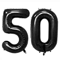 40inch Black 50 Helium Jumbo Digital Number Balloons, 50th Birthday Decoration for Women or Man, 50 Year Old Birthday Party Supplies (Number